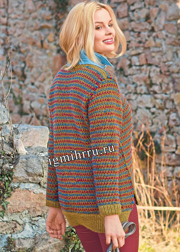 Теплый  пуловер с цветным структурным узором. Вязание спицами