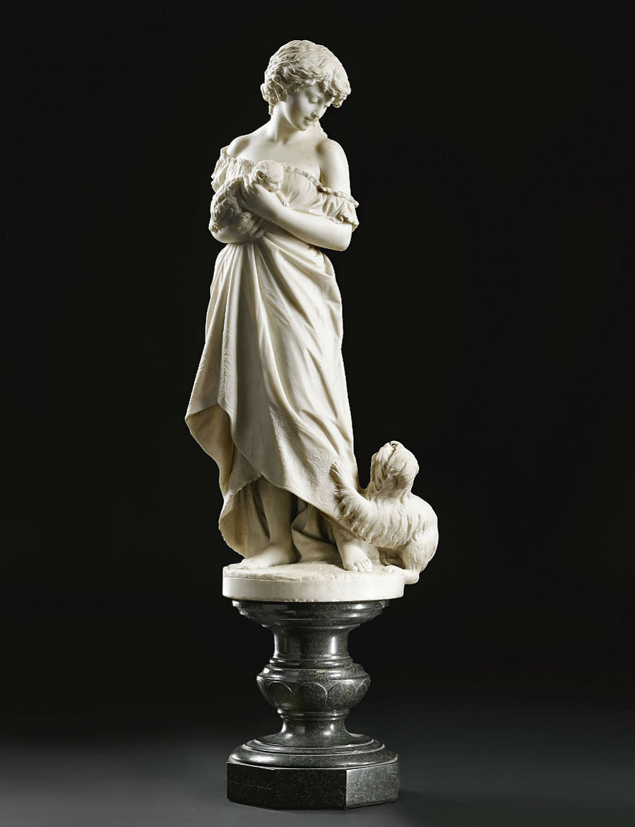 A MARBLE FIGURE OF A GIRL WITH A CAT AND DOG FLORENCE, MID 19TH CENTURY.jpg