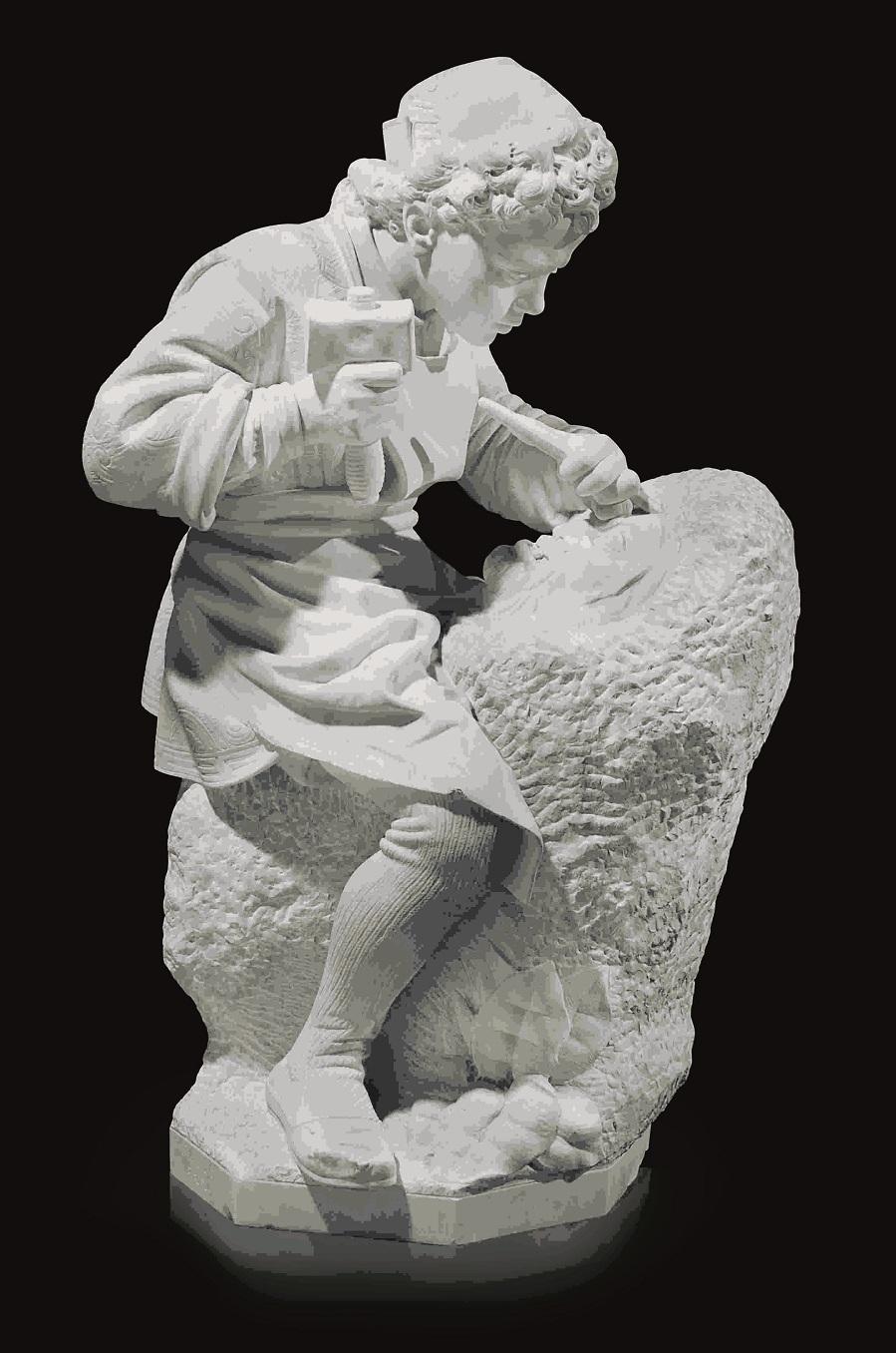 Young Michelangelo Carving a Faun's Head. (Молодой Микеланджело, резьба головы Фауна)