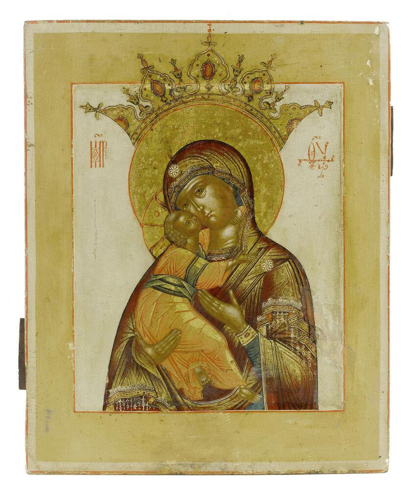 Икона Б.М. Владимирская (XVII век) (31.5 x 25.5 см) (Частное собрание).jpg