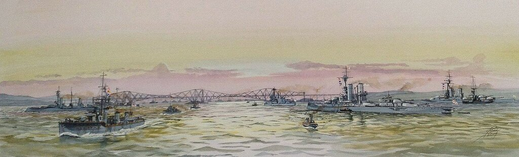 The Grand Fleet at anchor in the Firth of Forth in WW1. Nearest Battleship on the right is HMS BENBOW and beyond HMS CANADA. The leading Destroyer is HMS REDPOLE.