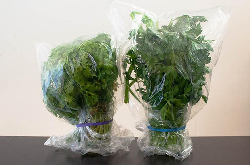4. Храните зелень, поставив ее «букетиком» в воду, как цветы, затем накройте пакетом, завяжите резин