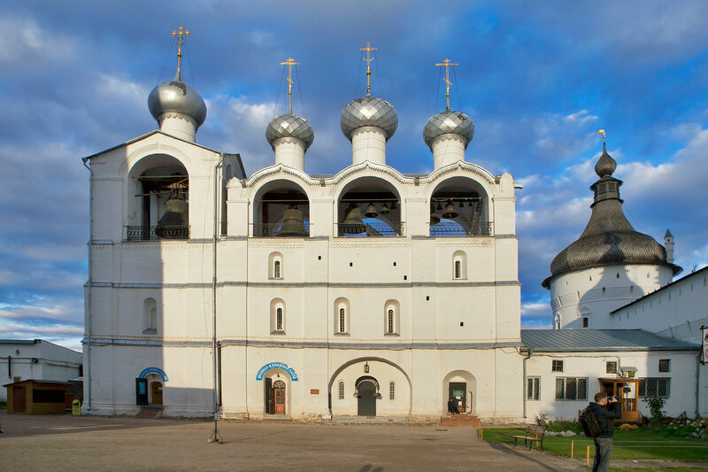 White Belfry with bells .Kremlin of ancient town of Rostov Veliky.Russia. Golden Ring