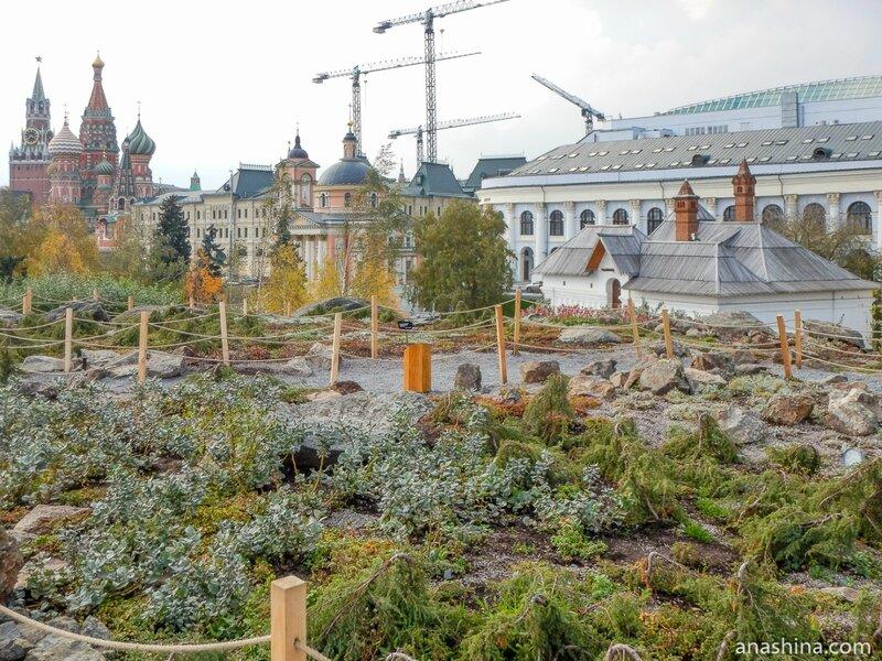 """Парковая ландшафтная зона «Северные ландшафты» и здания на Варварке, парк """"Зарядье"""", Москва"""