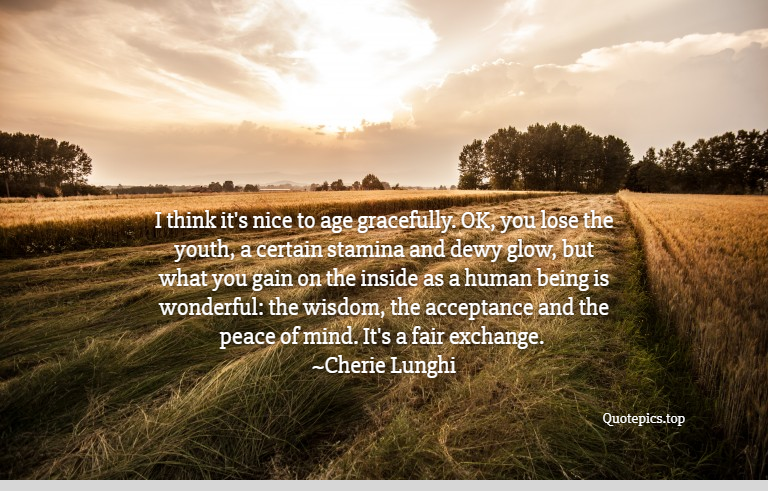 I think it's nice to age gracefully. OK, you lose the youth, a certain stamina and dewy glow, but what you gain on the inside as a human being is wonderful: the wisdom, the acceptance and the peace of mind. It's a fair exchange. ~Cherie Lunghi