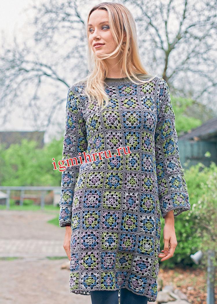 Платье из разноцветных бабушкиных квадратов. Вязание крючком