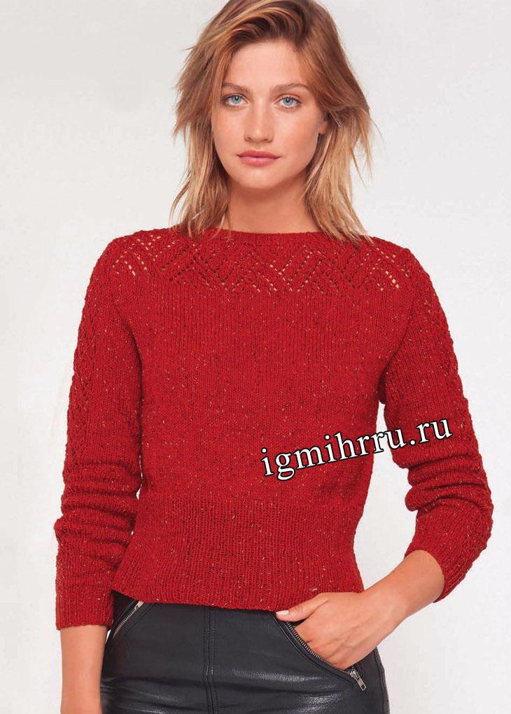 Красный пуловер с ажурной кокеткой. Вязание спицами
