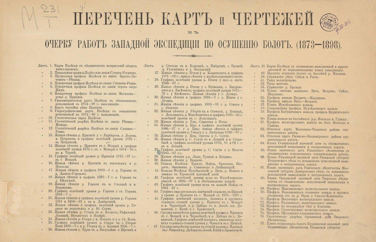 1899. Атлас работ Западной экспедиции по осушению болот