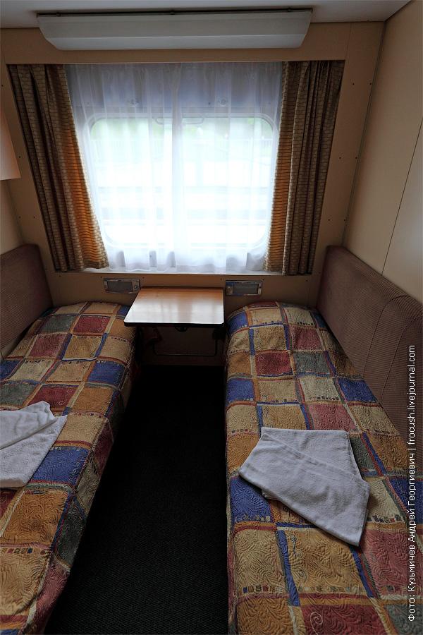 Двухместная одноярусная каюта №208 на главной палубе. В каюте два спальных места, шкаф для одежды, радио, душ, санузел, кондиционер, холодильник, обзорное окно, электророзетка на 220 В. фотография. теплоход «Кронштадт»