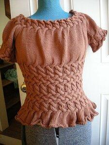 Розовая плетенка - кофточка с коротким рукавом