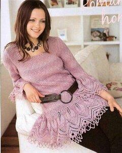 Розовая туника-платье