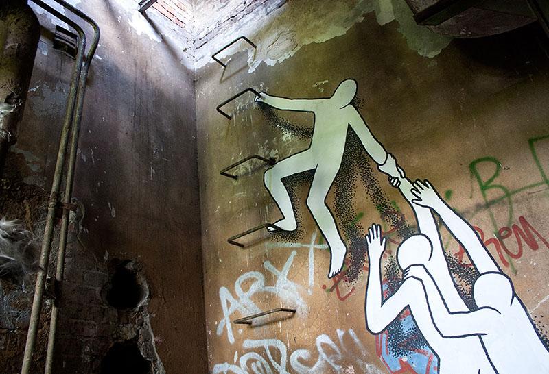Стрит-арт с анонимными персонажами от Daan Botlek