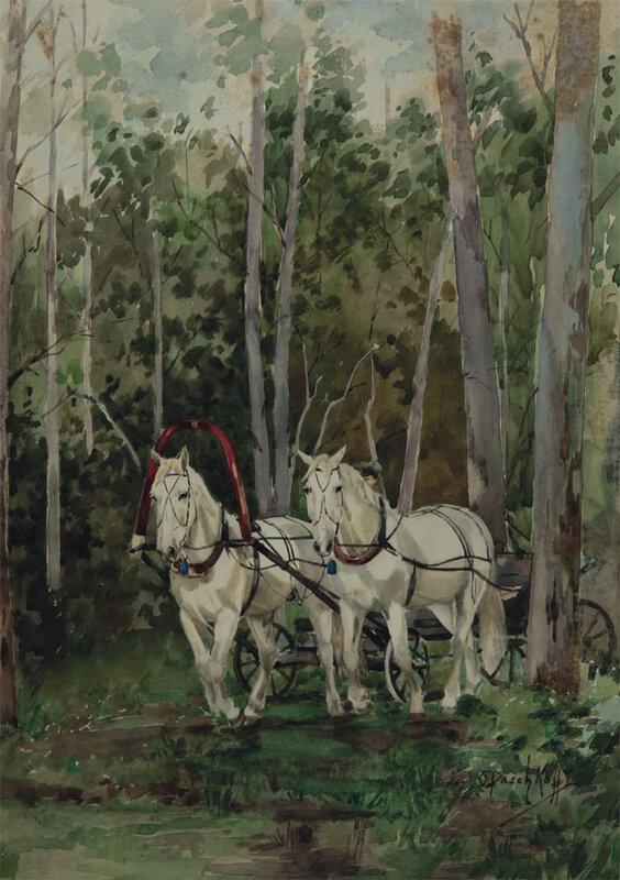 Ольга Васильевна Пашкова (1868 - 1949). Упряжка белых лошадей