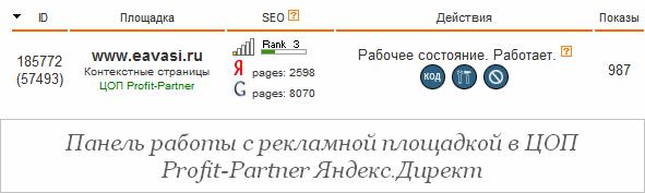 В Яндекс.Директе регистрация и размещение рекламных блоков происходит совсем не так, как на Google AdSense. Точнее сказать, регистрация и размещение рекламных блоков в Яндекс.Директ происходит не на самом Яндекс.Директе, а на сайте выбранного, из предлагаемого списка, хозяином рекламной площадки, посредника, условно именуемого в Яндекс.Директе - ЦОП (Центр Обслуживания Партнеров).