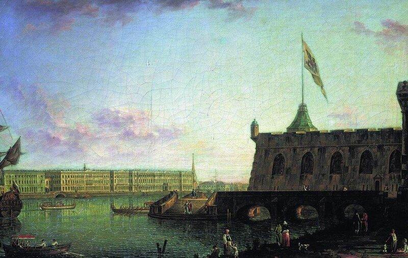 Вид Петропавловской крепости и Дворцовой набережной. 1799
