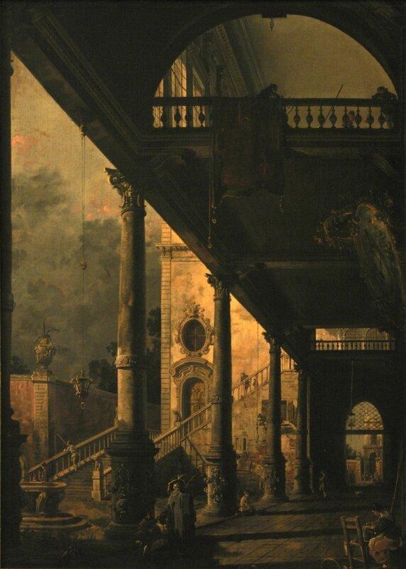 Внутренний вид двора с садом. Лоджия в Вененции; копия картины (Русский музей)