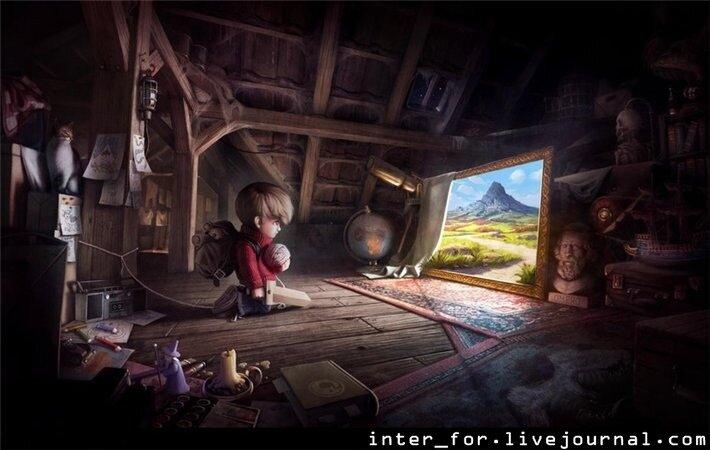 Мальчик в сказке на чердаке