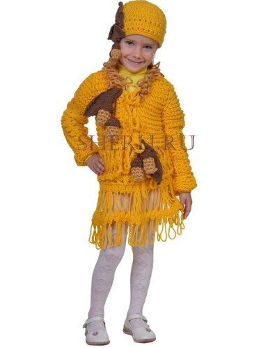 """Для вязания костюма необходимо 300 г пряжи  """"Популярная.  Пехорский текстиль """" желтого цвета, 100 г пряжи  """"Yarn Art..."""