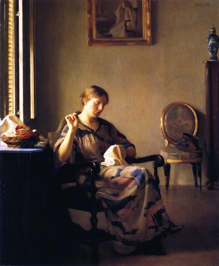 William_McGregor_Paxton,_1919_-_Woman_Sewing.jpg