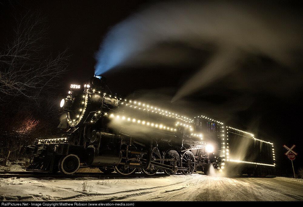 Kettle Valley Steam Railway Steam CP 3716 (2-8-0), Canyon View, Summerland, British Columbia, Canada, December 17, 2016.