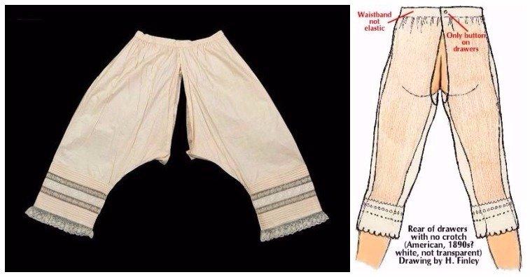 Женское нижнее белье было открытым в зоне промежности    Викторианские панталон