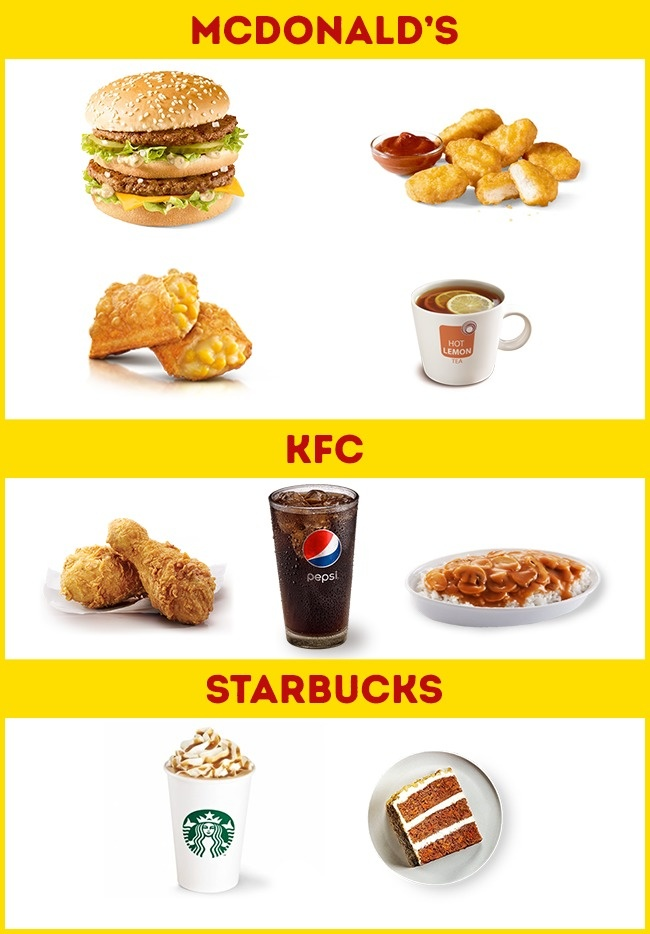 © McDonalds Hong Kong  © KFC Hong Kong  © Starbucks Hong Kong     Поданным ж