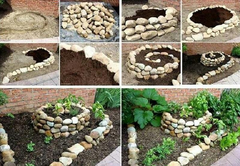 Простая идея от умелого садовода, как оформить клумбу с помощью обычных камней (18 фото)