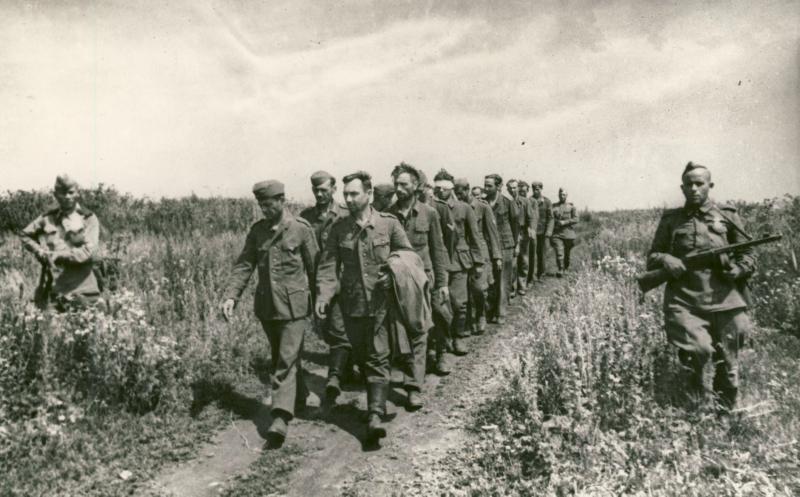 Колонна военнопленных под Белгородом. Фотофонд ГАБО