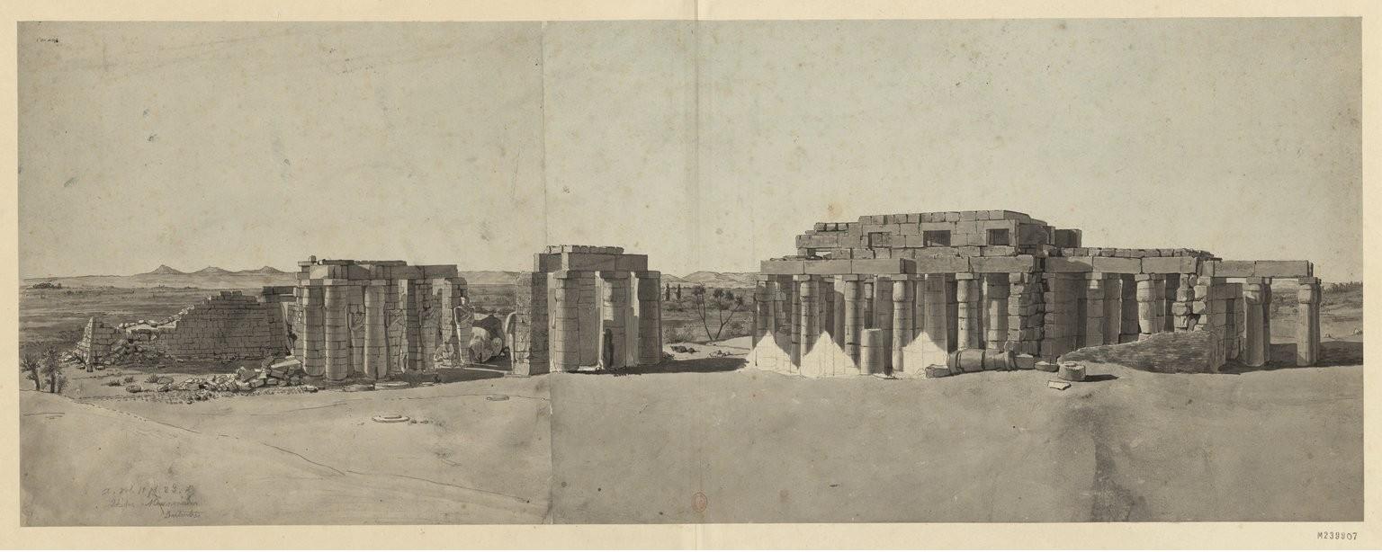 Рамсесум. Общий вид храма Рамзеса II и части плато Фив с северо-запада