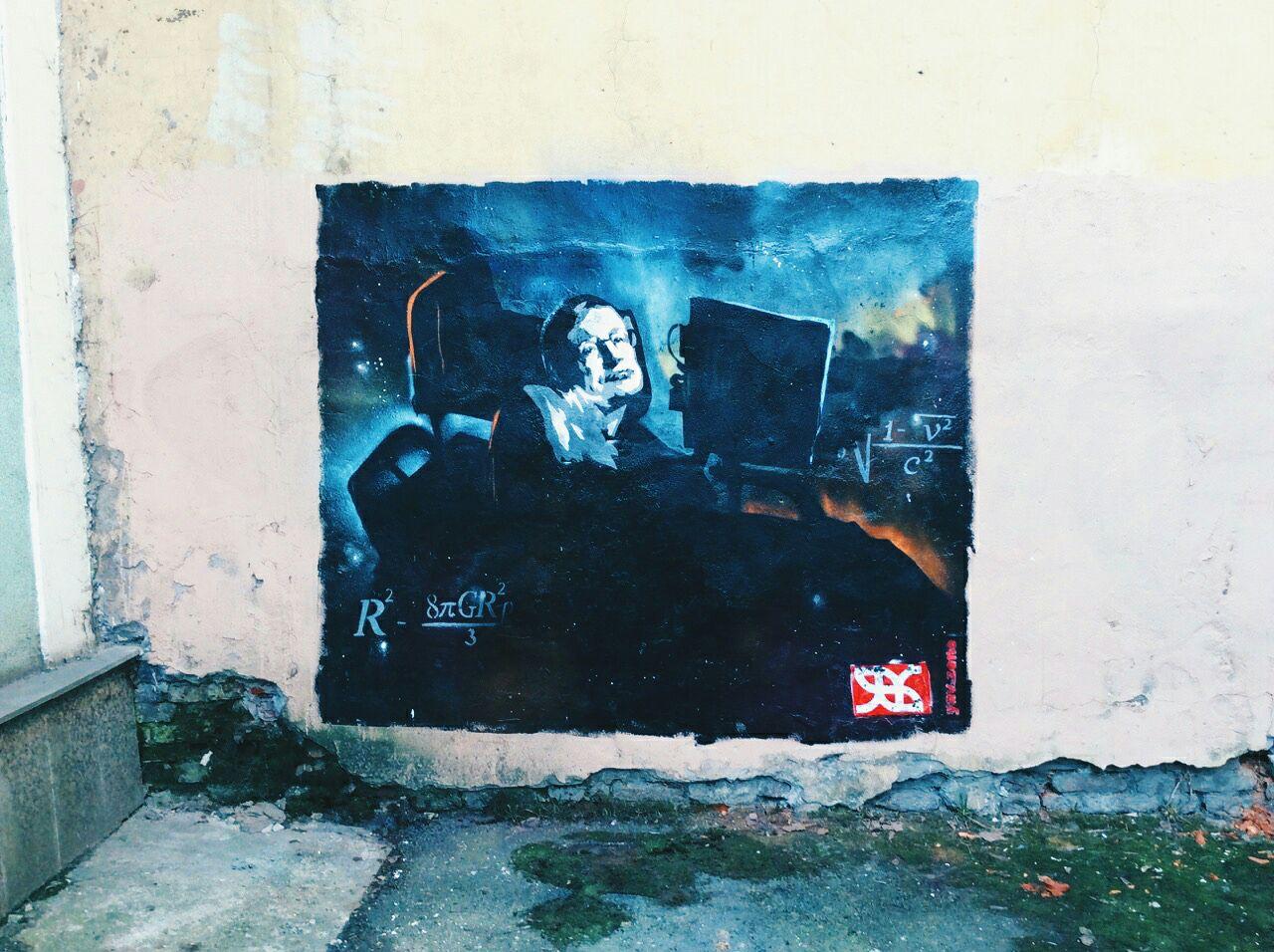 граффити космонавтика космос Санкт-Петербург смерть Стивен Хокинг ученые