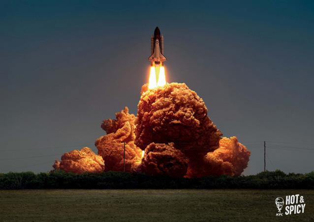 KFC взрыв курица огонь рекламная кампания рекламное фото сходство