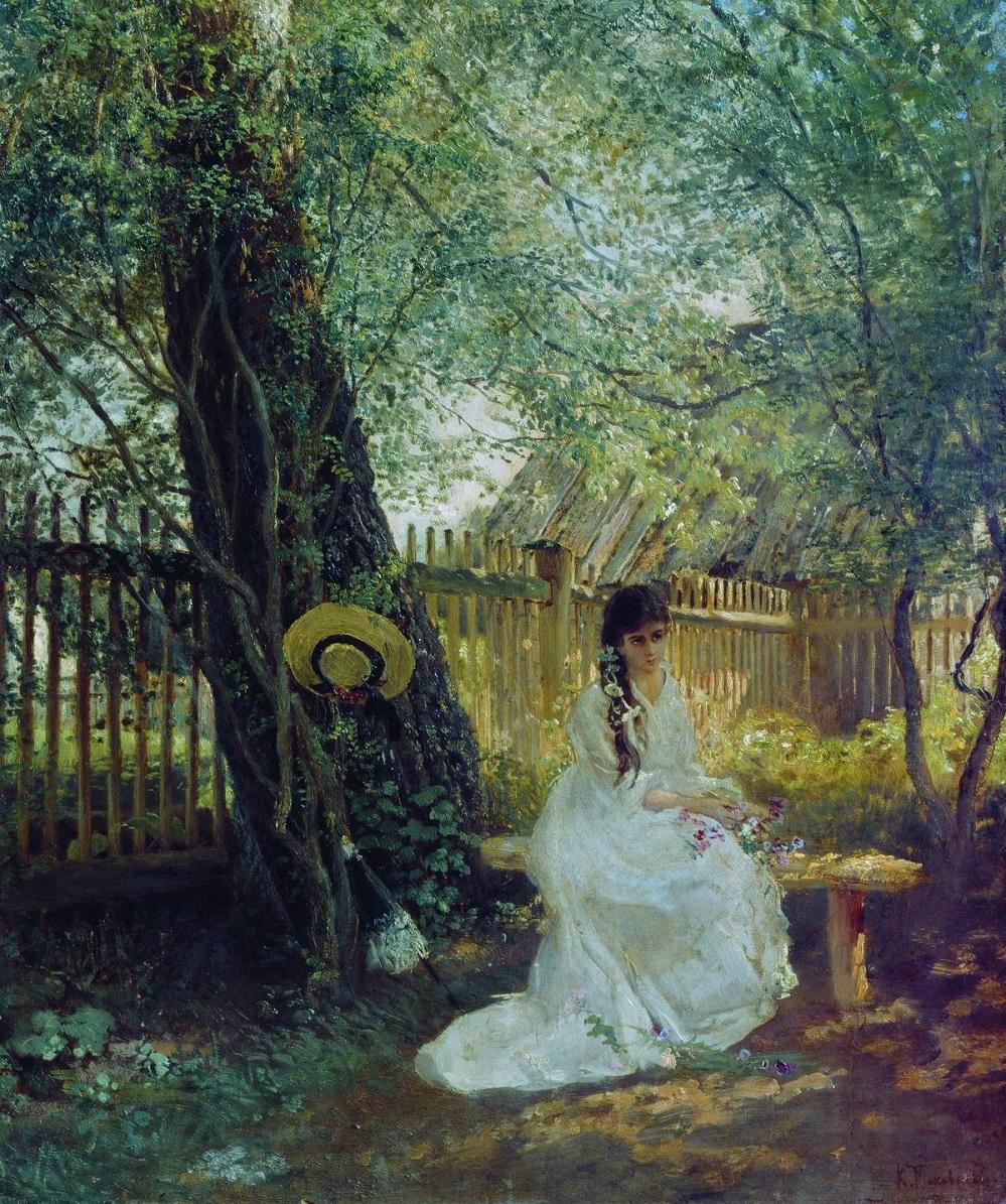 В саду. Вторая половина 1870-х Государственный Русский музей, С.-Петербург.