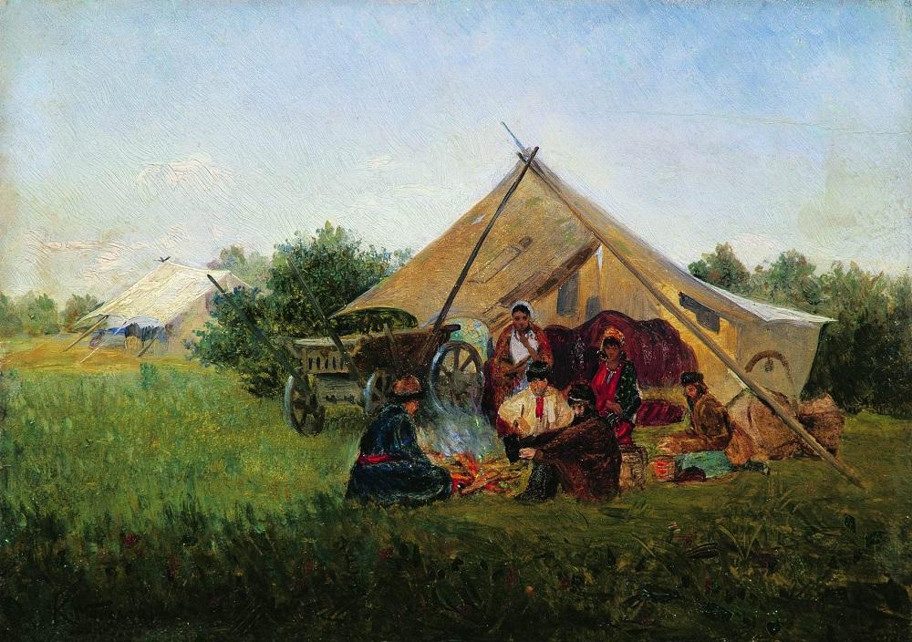 Цыганский табор у костра.