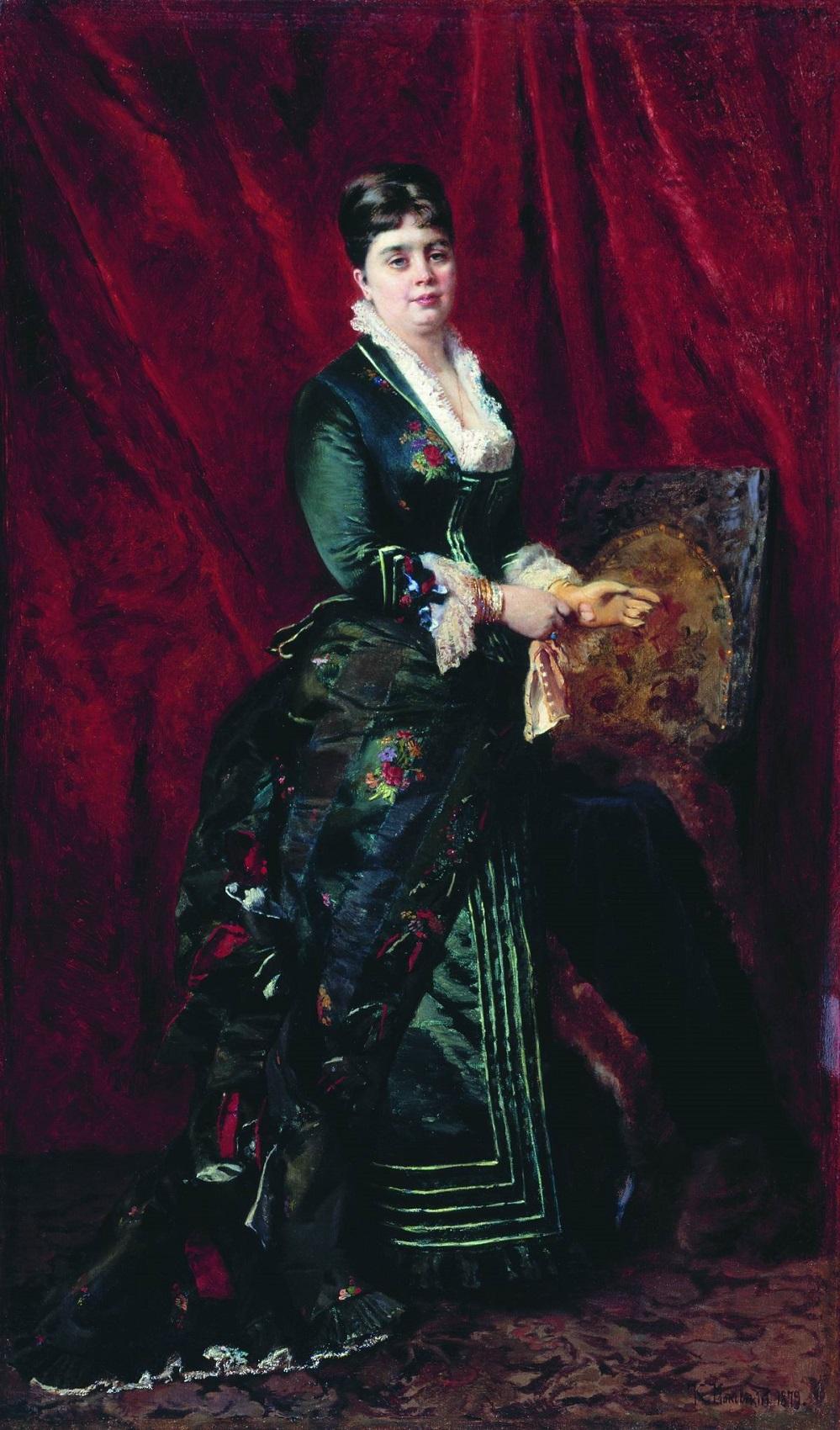 Портрет молодой женщины в зеленом платье. 1879 Архангельский областной музей изобразительных искусств.