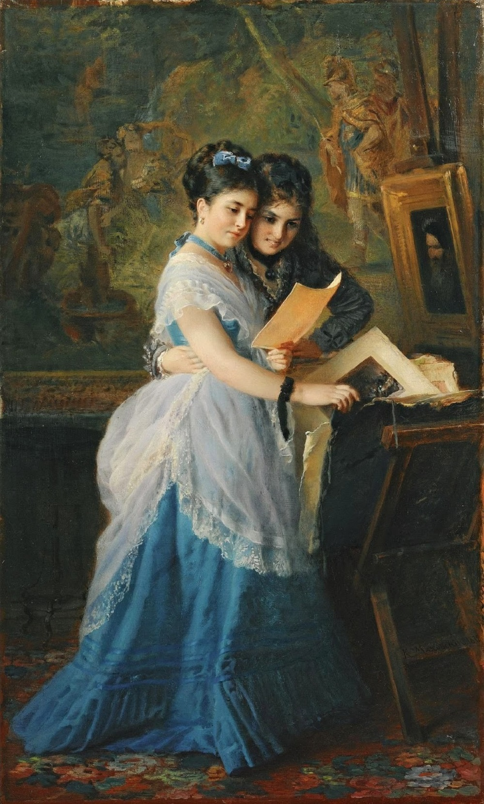 Две дамы разглядывают гравюру Частное собрание.