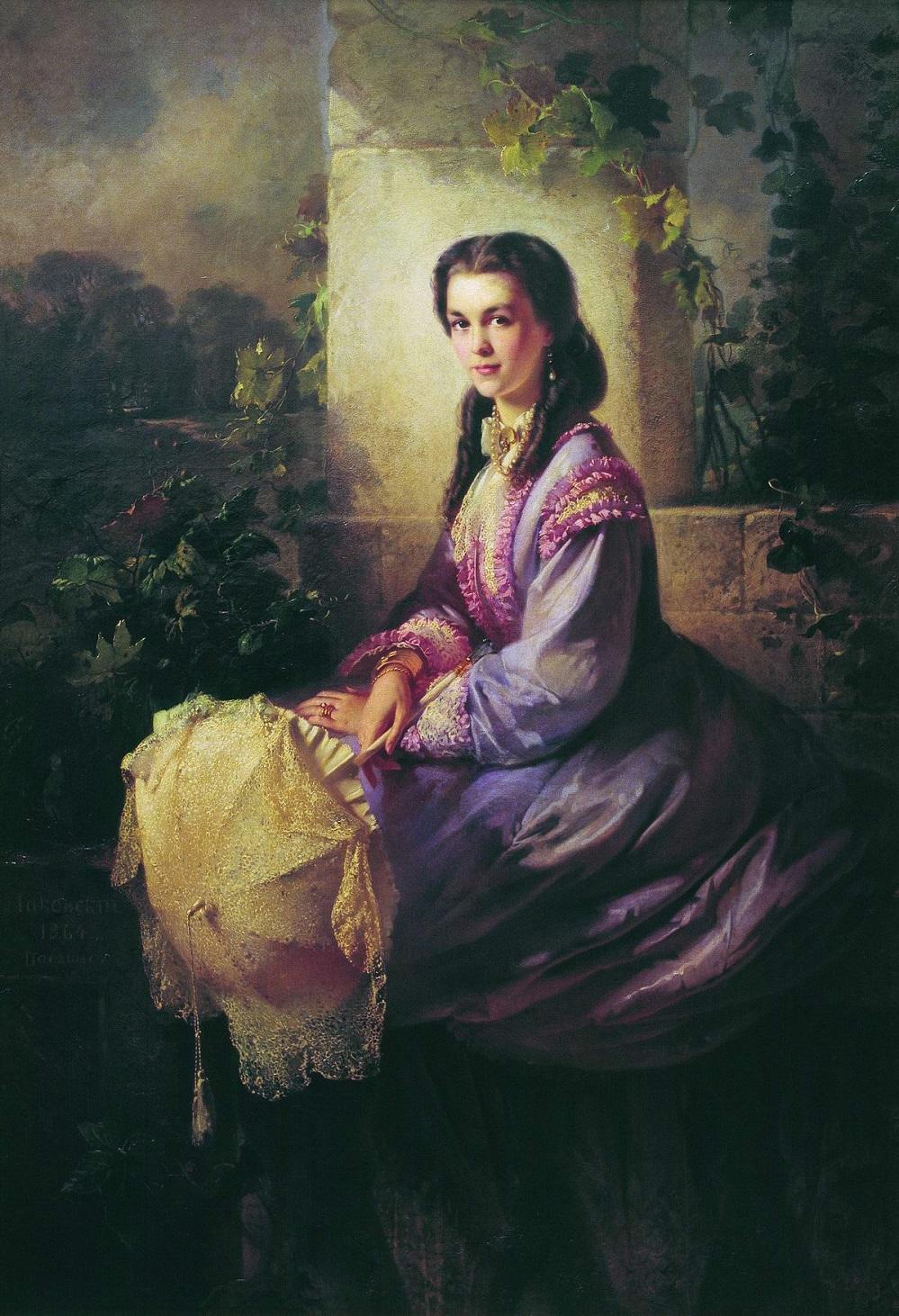 Портрет графини С.Л.Строгановой. 1864 Государственная Третьяковская галерея, Москва.