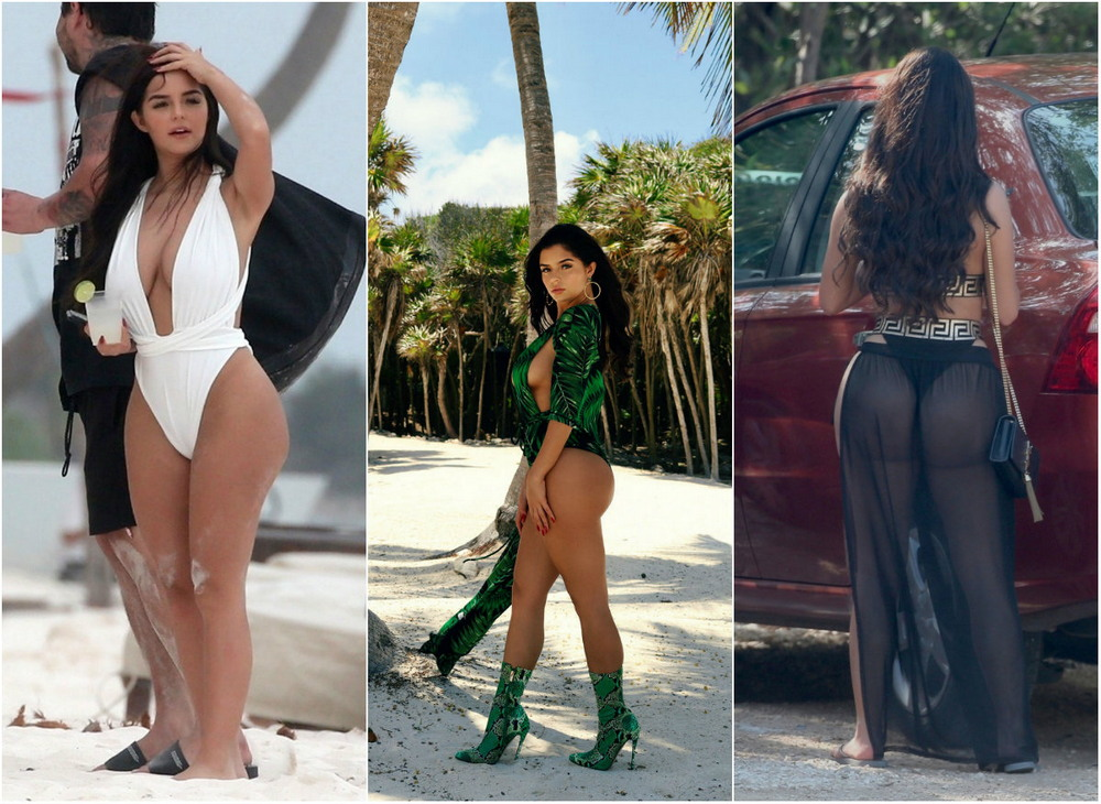 Demi Rose in a photo shoot on the beach