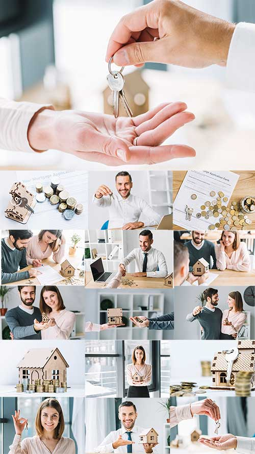 Молодая семья покупает дом - Клипарт / Young family buys a house - Clipart