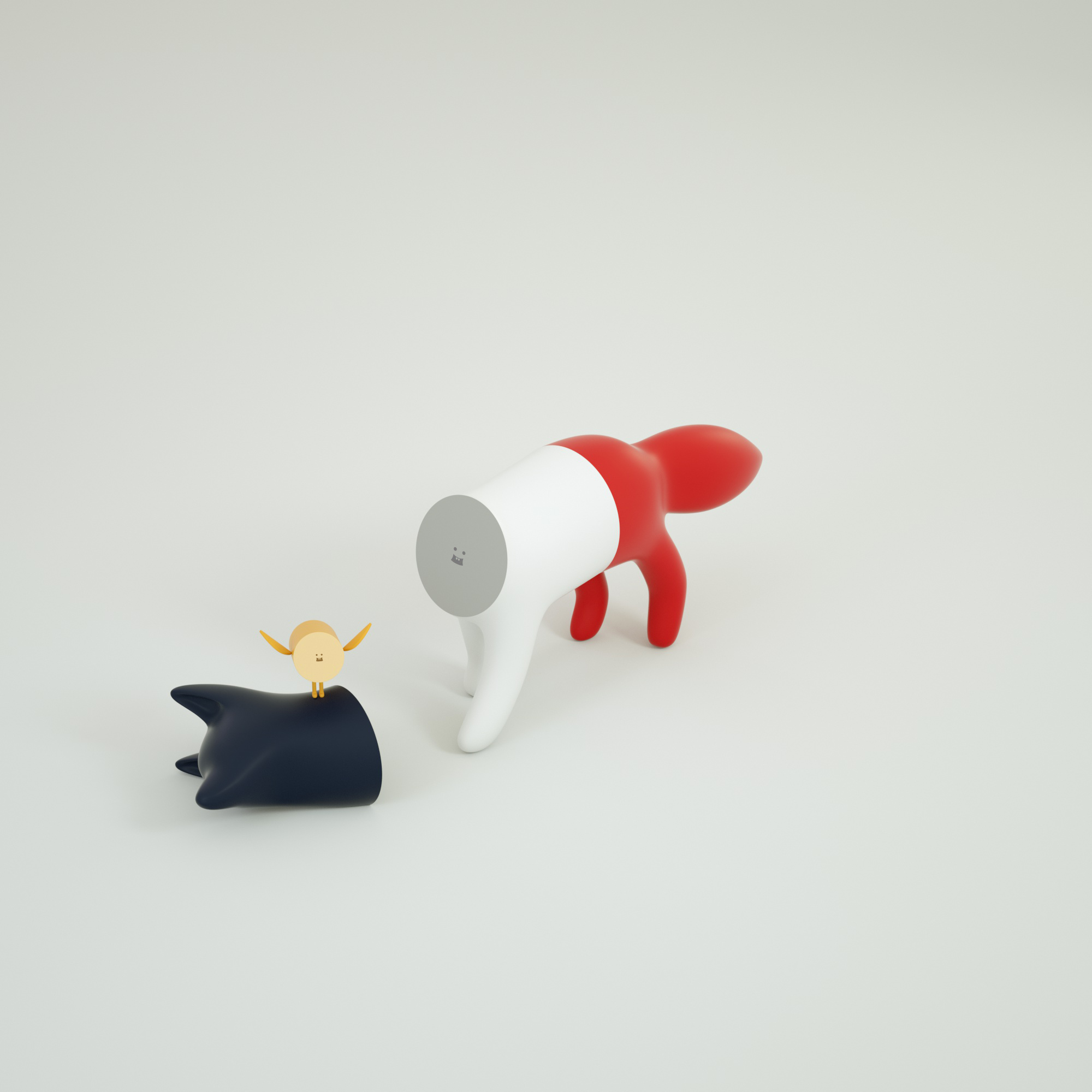 Cute Tricolor Fox Toy Collectible by Superfiction x Maison Kitsune