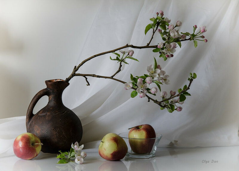 С веткой цветущей яблони