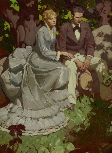 Mead Schaeffer - Couple in Garden