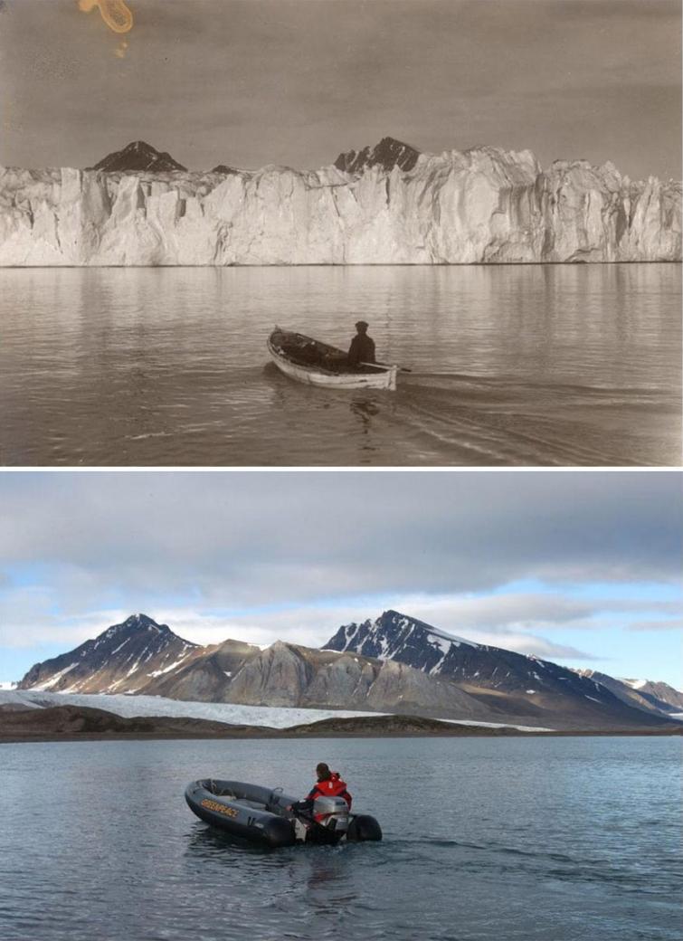Шокирующие фотографии в стиле до и после, показывающие что изменение климата сделало с арктическими ледниками (7 фото)