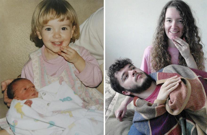 Они воссоздали детские фото к 30-летней годовщине свадьбы родителей