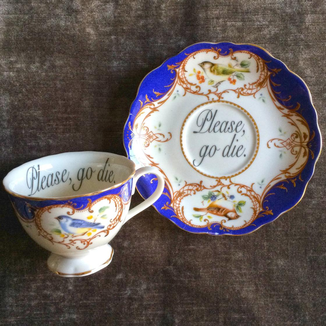 Insult Teacups – Greet your guests with some delicate insults