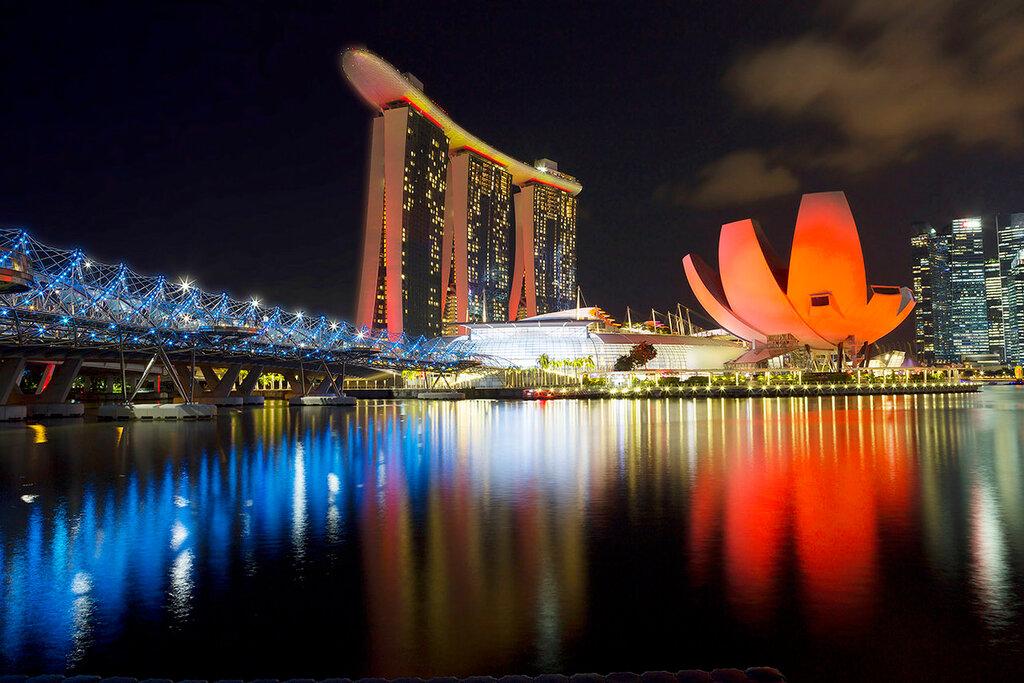 Вечерний Сингапур. Мост Хеликс Бридж.
