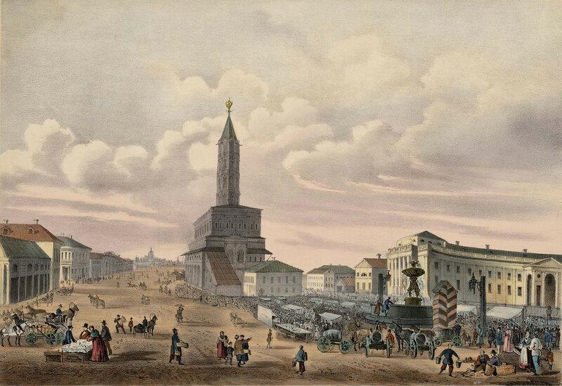 736490 Вид Cухаревой башни и части Шереметевской больницы Струков Дмитрий Михайлович 1856