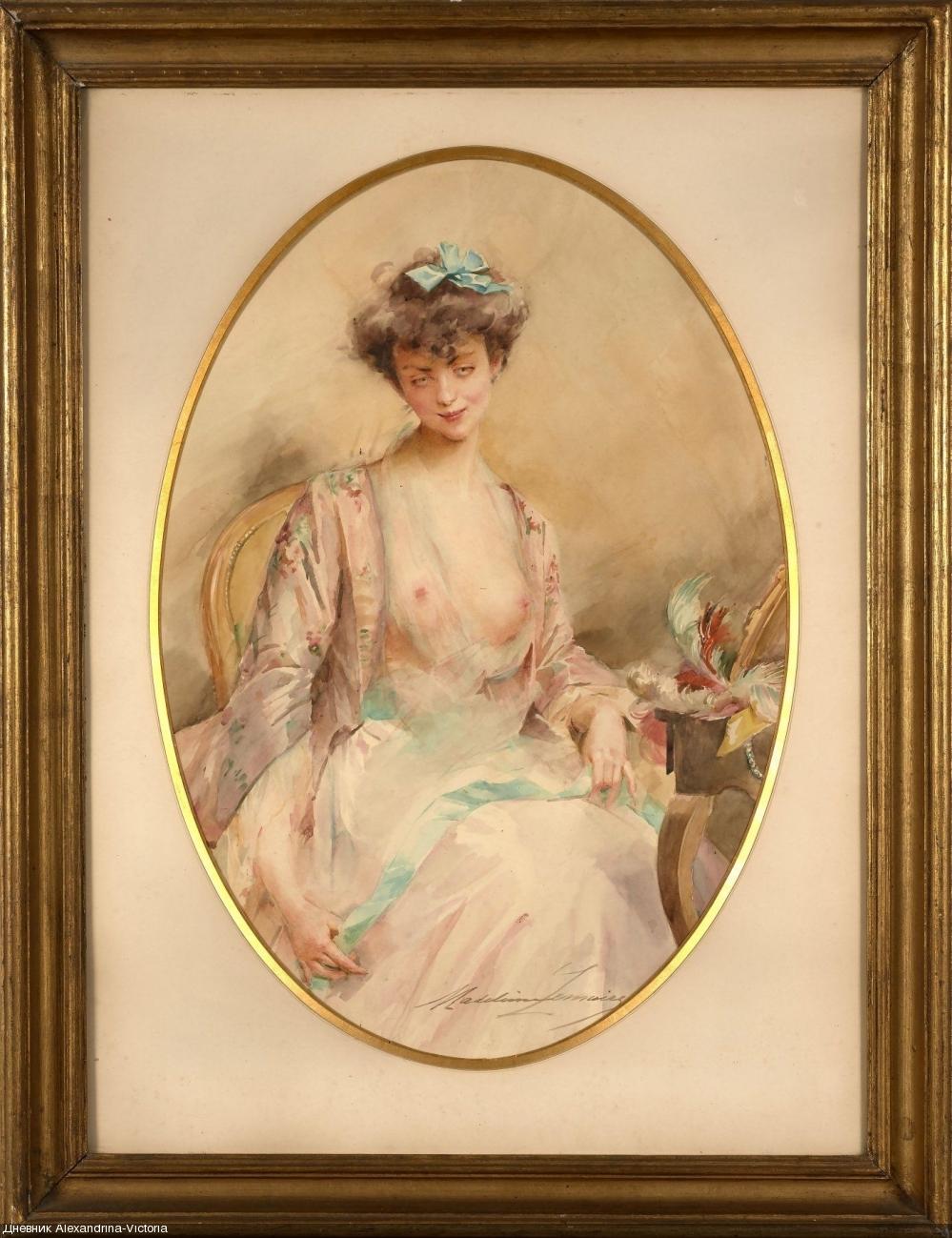 Portrait de femme aux rubans bleus