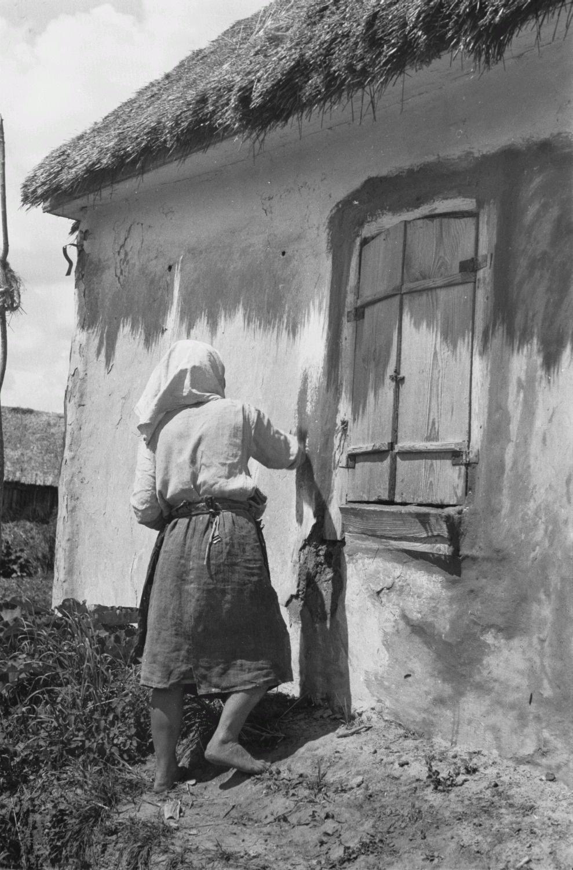 Крестьянка белит дом