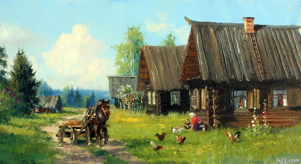 图片-俄罗斯画家弗拉基米尔·伊万诺夫的郊外系列田园插画作品part.1(oi22.com)