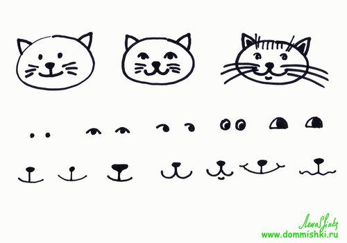Как рисовать котов мордочка